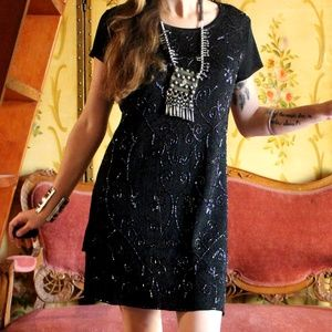 🌛Vintage Mystical Midnight Beaded Dress 🌜